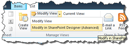 Choose to modify view in SharePoint Designer