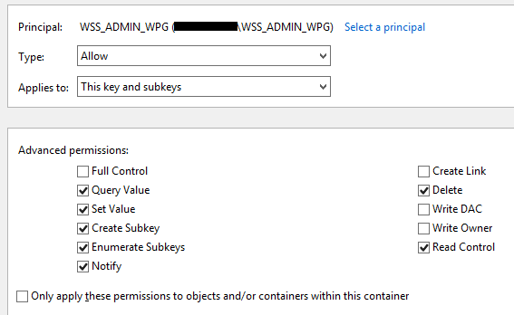 Special permissions for WSS_ADMIN_WPG